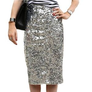 Silver Sequin Pencil Skirt NWT
